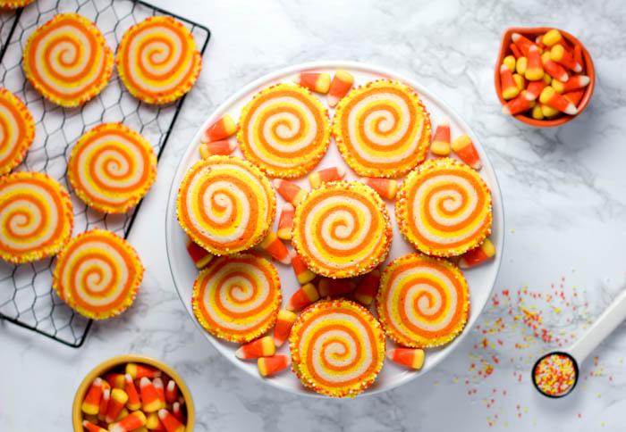 Halloween treats - candy corn and candy corn rolls