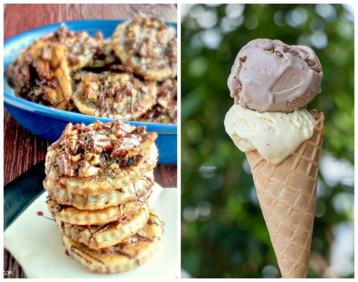 Pecan cookies and an ice cream cone