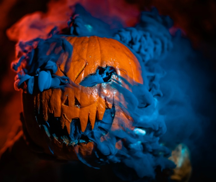 Pumpkin with blue fog flowing out