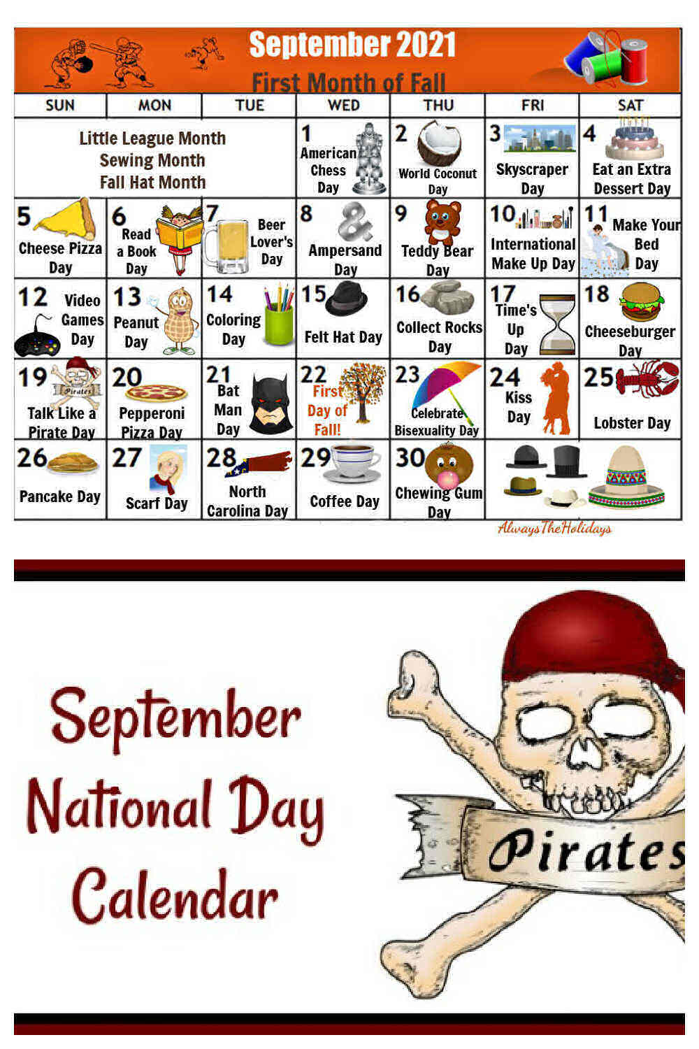 Pirate sign with words September National Day Calendar and calendar showing icons of national days.