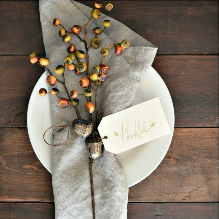 Napkin with Thankful card and branch of nuts and acorns