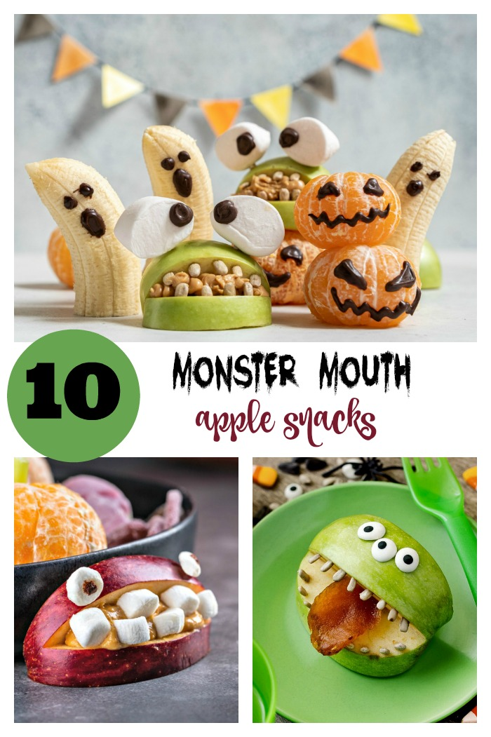 "Halloween apple snacks in a collage with words reading ""10 Monster Mouth Halloween Snacks."""
