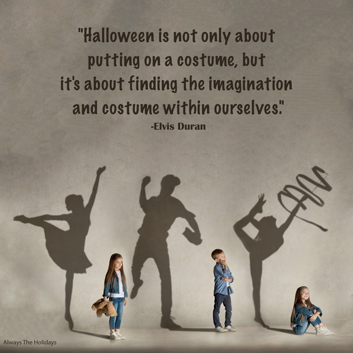 Three children with their shadow behind them projected as who they dream to be with an inspirational Halloween quote text overlay.