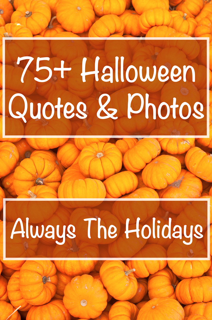 "A pile of pumpkins with the text overlay ""75+ Halloween Quotes & Photos""."