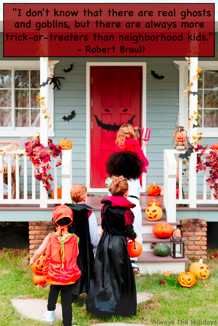 A group of children trick or treating with a funny Halloween quote overlay.