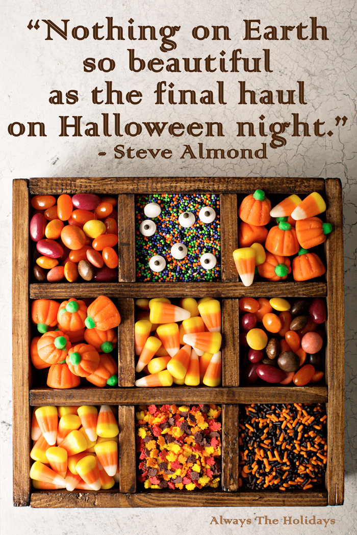 A box with divided compartments of Halloween candy and a quote Halloween overlay.