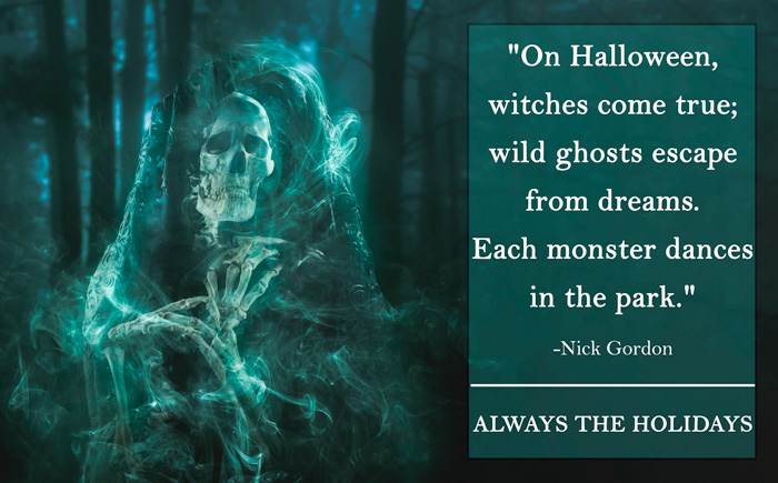 A skeleton ghost in the woods wearing a see-through cloak with a scary Halloween quote overlay.