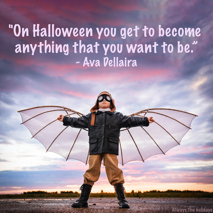 "A little boy wearing aviation wings with a quote reading ""On Halloween, you get to become anything you want to be""."