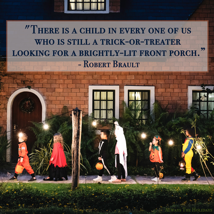 Children in Halloween costumes trick-or-treating with a cute Halloween quote text overlay.
