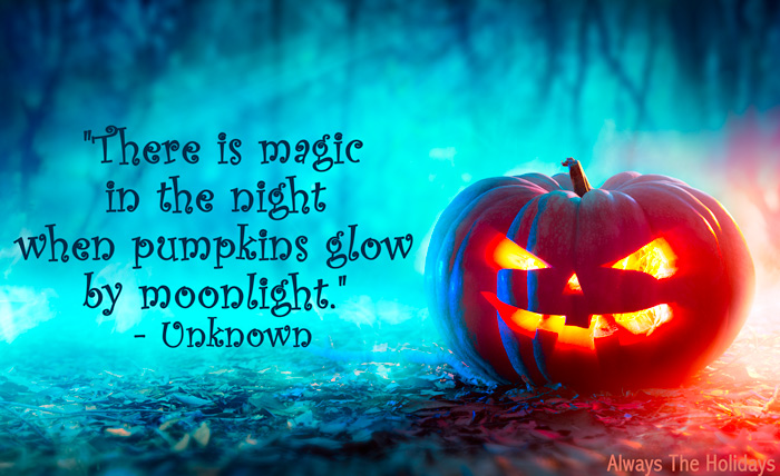 A gleaming jack-0-lantern in the woods with a cute Halloween quote overlay.