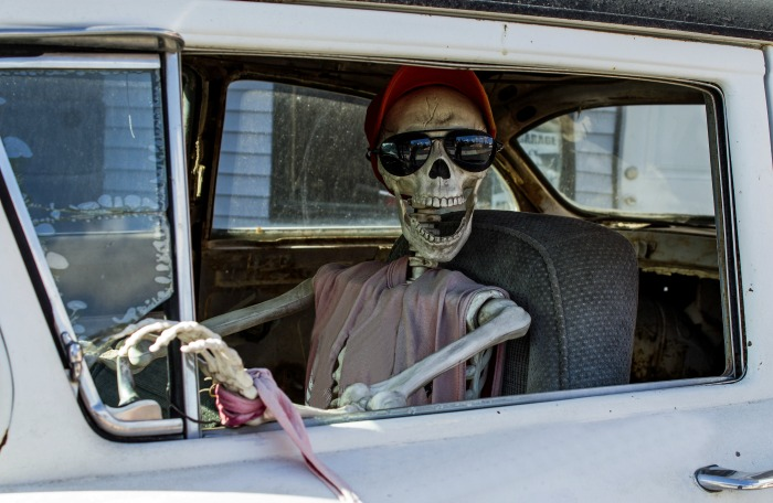 Skeleton in a pink dress sitting in a car.