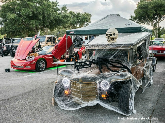 Classic car with Halloween decorations