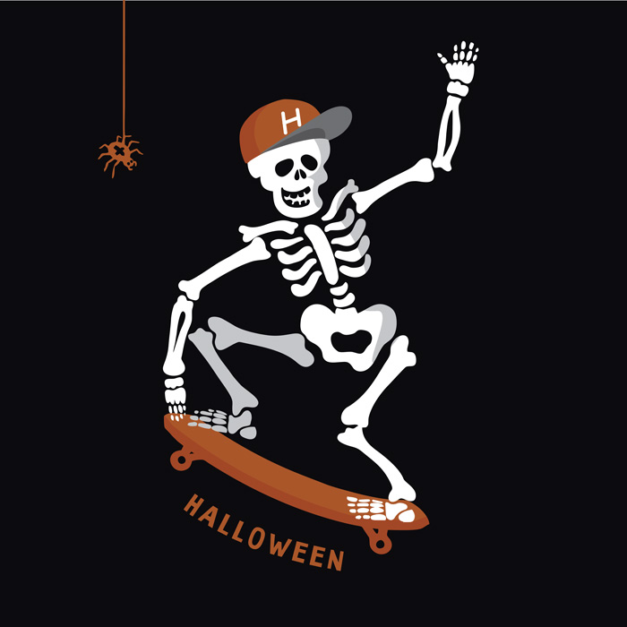 A skeleton riding a skateboard jumping over the word Halloween.