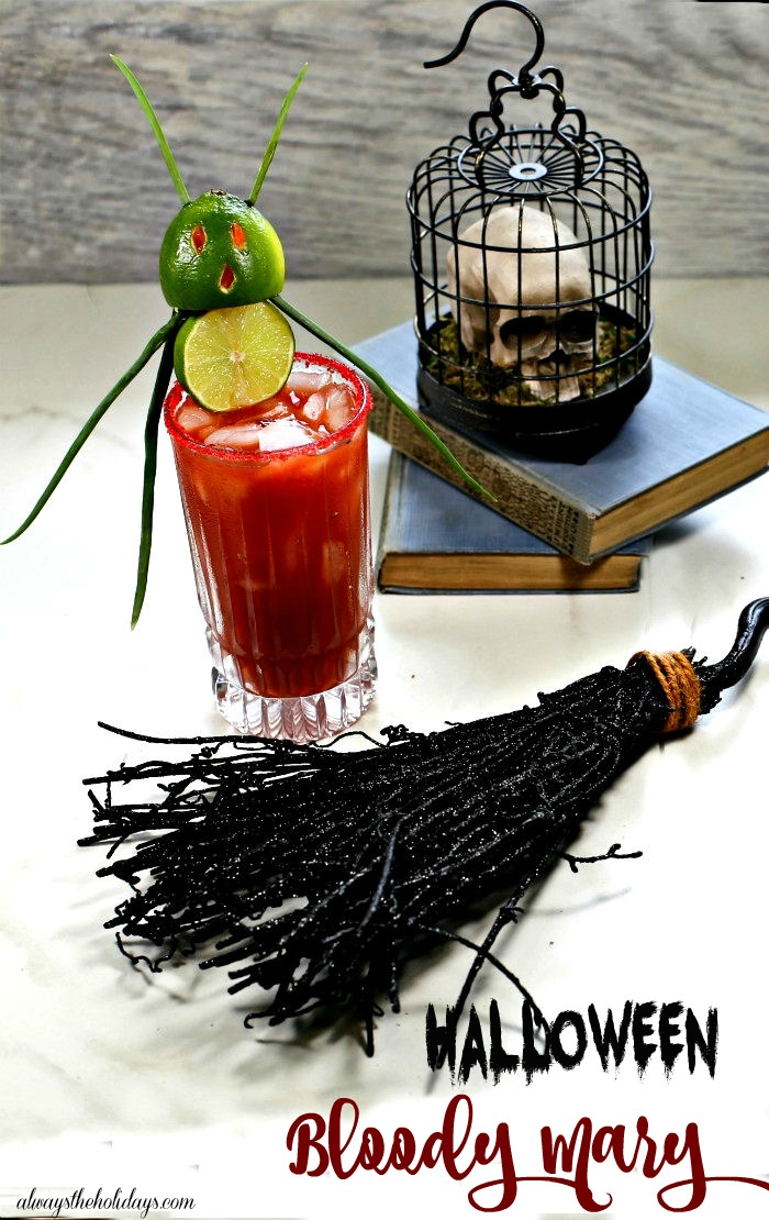 Halloween Bloody Mary cocktail with a lime devil garnish.
