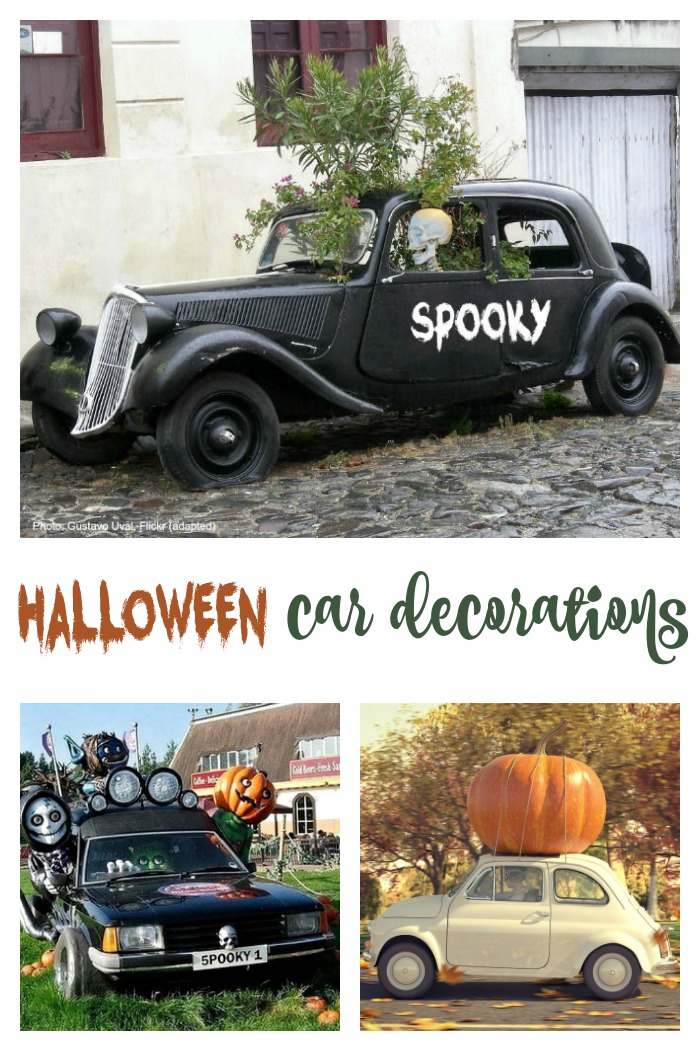 Text reading Halloween car decorations collage