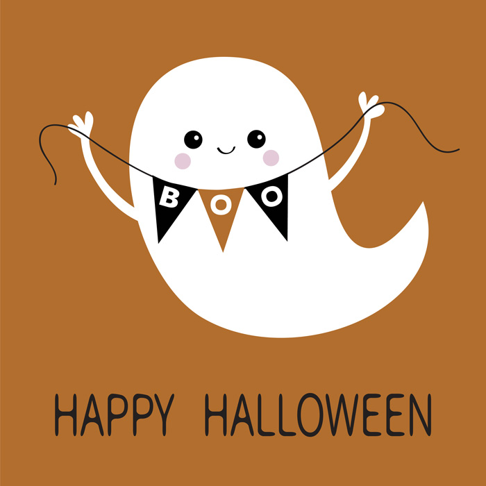 Cute ghost holding a banner that says Boo with a quote overlay reading happy Halloween.