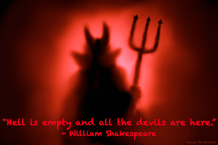 A red devil silhouette with a spooky halloween quote overlay.