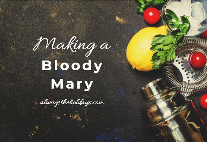 """Blackboard and vegetables with text reading """"making a bloody Mary."""""""