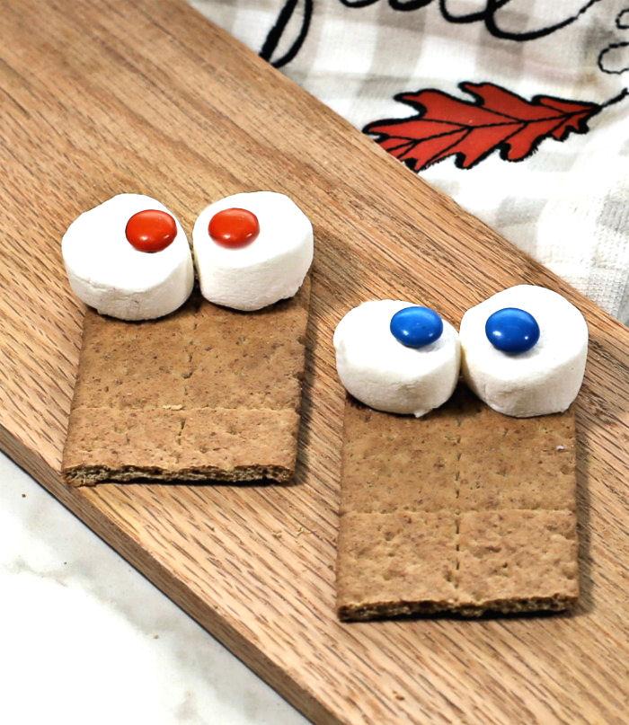 Marshmallows and MMs to make eyeballs.