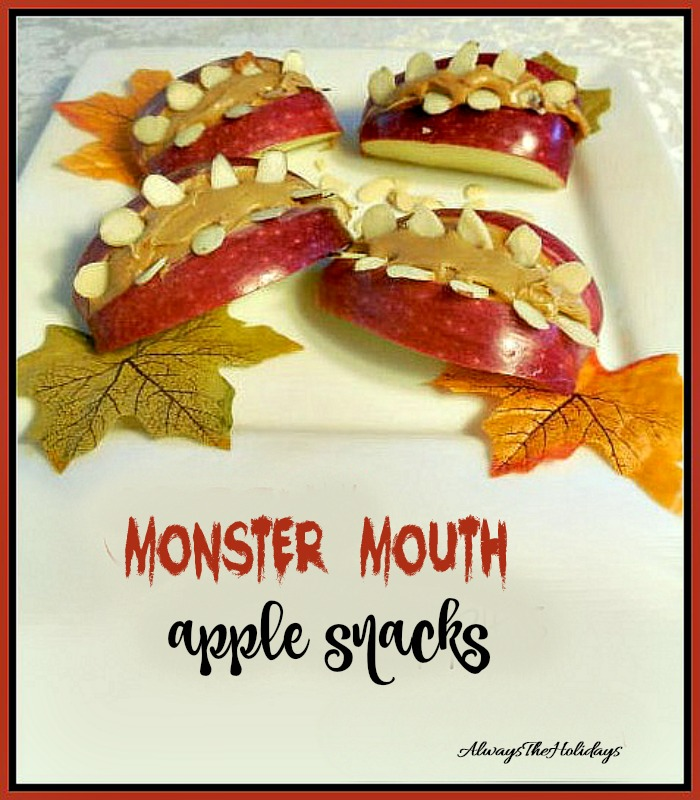 Monster mouth apple snacks are healthy and fun to eat.