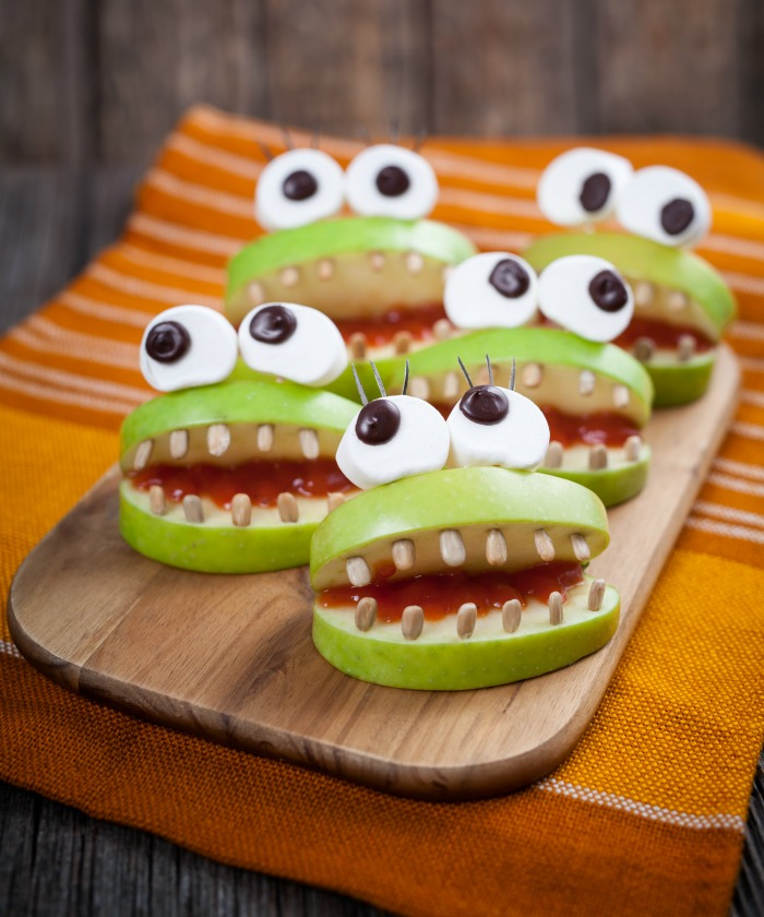 Strawberry monster mouth snacks with marshmallow eyes