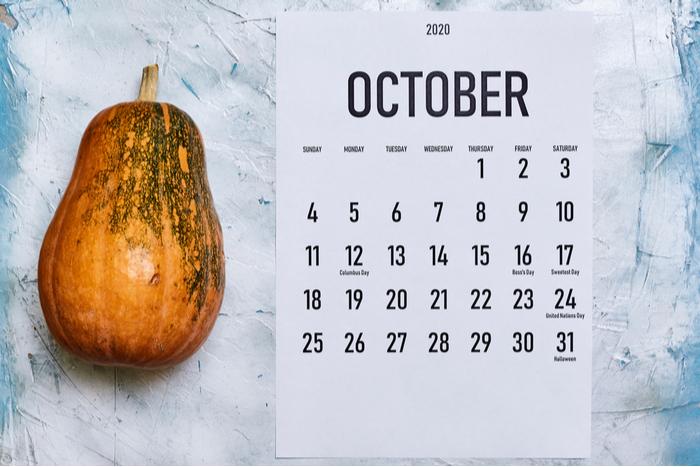 An October calendar on a counter next to a pumpkin.