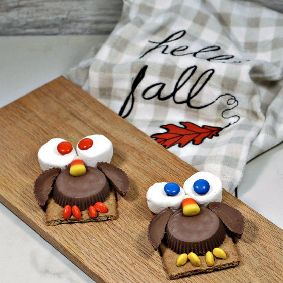 Owl Cookie Treats on a wooden board near a fall towel.