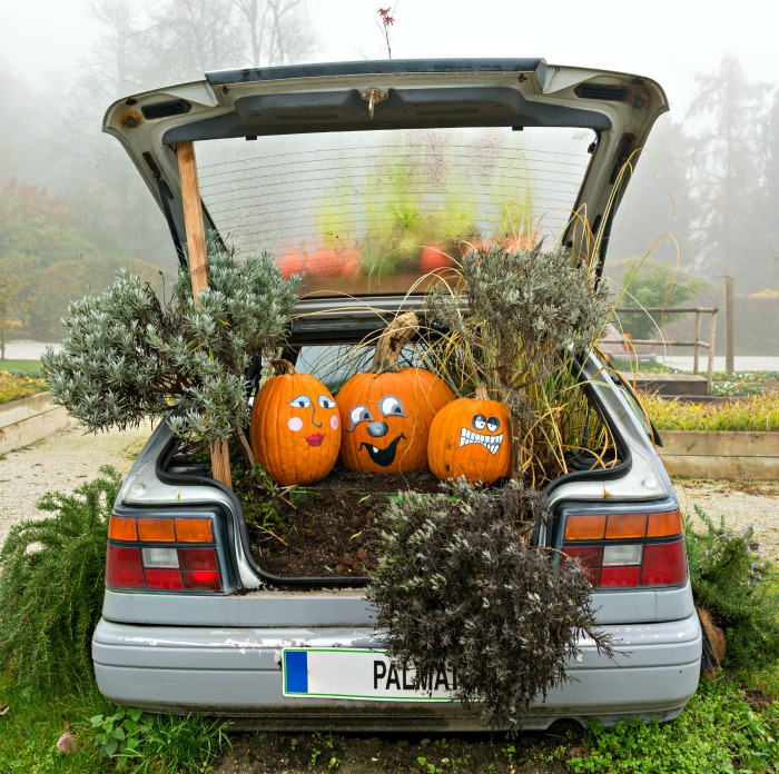 Pumpkin car decorations with bales of hay.