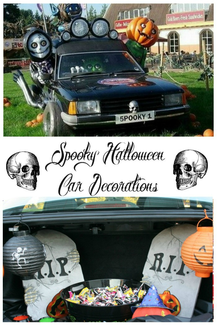 "Collage with the words reading ""Spooky Halloween car decorations"" and two skulls."