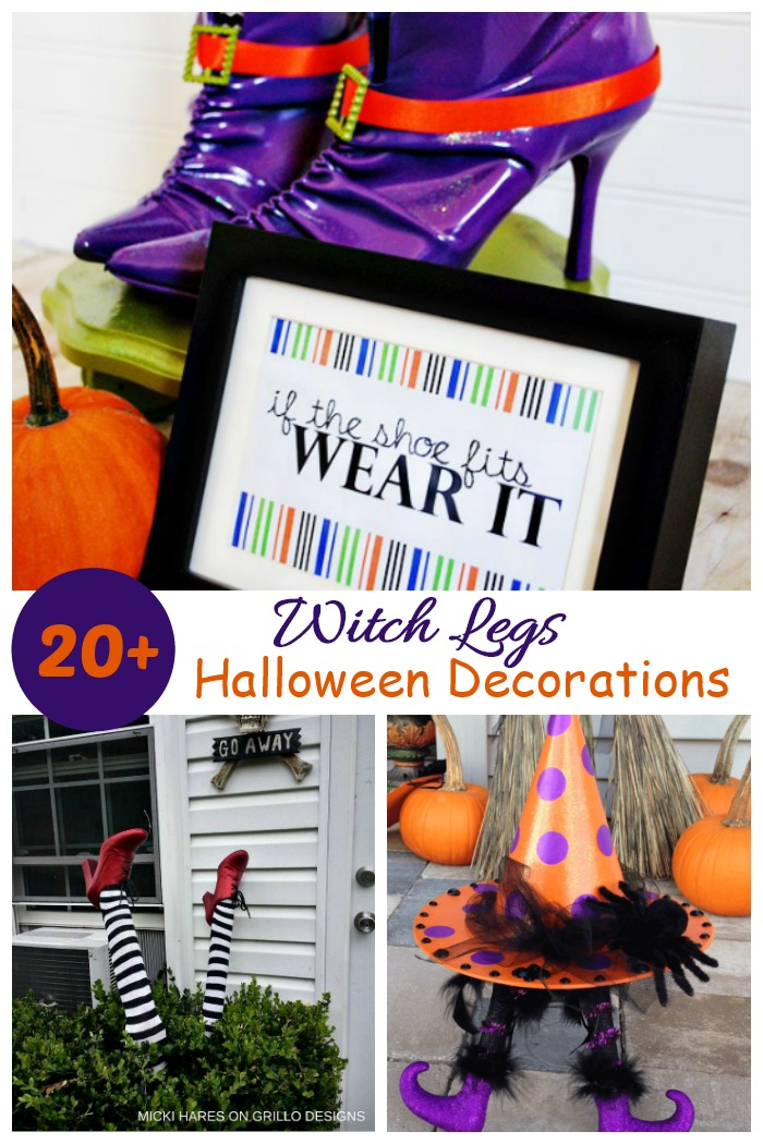 """Witch legs collage with words reading """"20"""" witch legs Halloween decorations."""""""