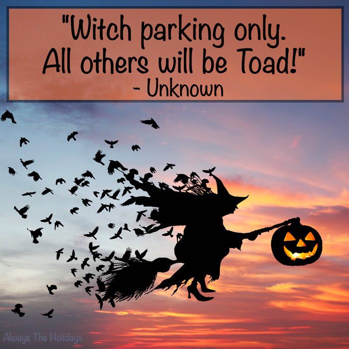 A witch silhouette riding a broom holding a jack-o-lantern with a Hallowen quotes overlay.