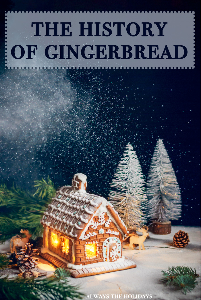 "A gingerbread house dressed with Christmas decorations and a text overlay reading ""The History of Gingerbread""."