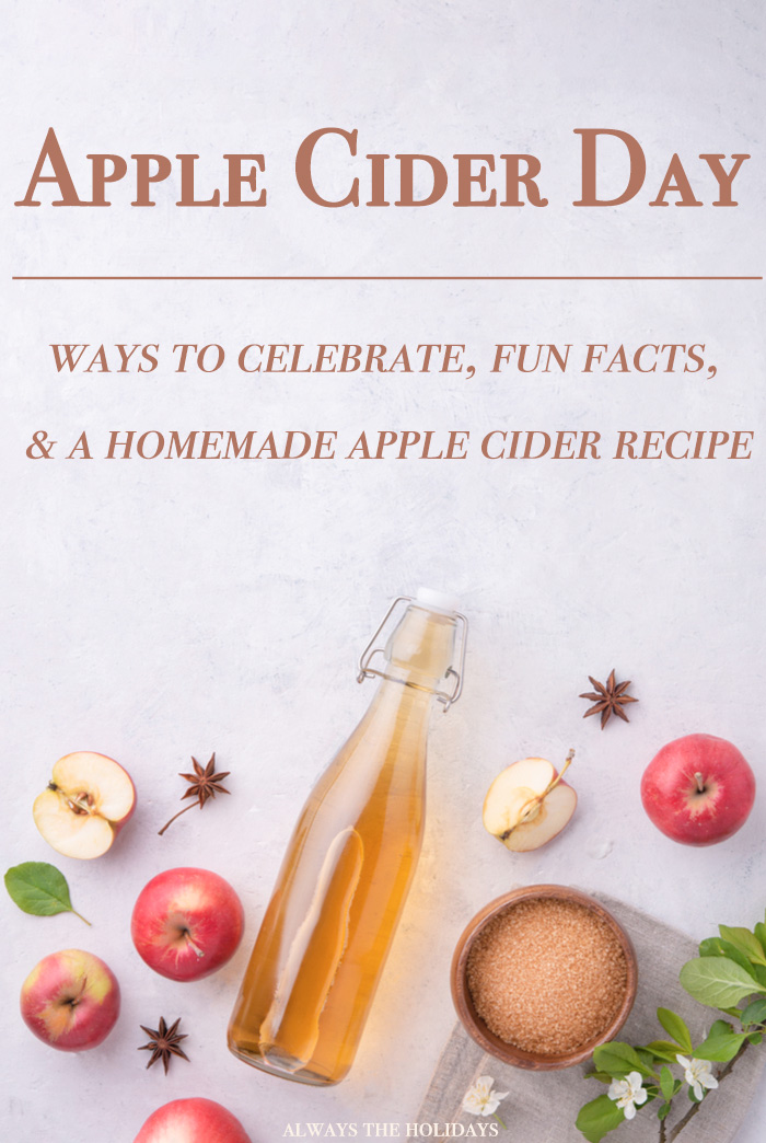 "An overhead view of apple cider ingredients on a marble background with a text overlay reading ""Apple cider day ways to celebrate fun facts & a homemade apple cider recipe""."