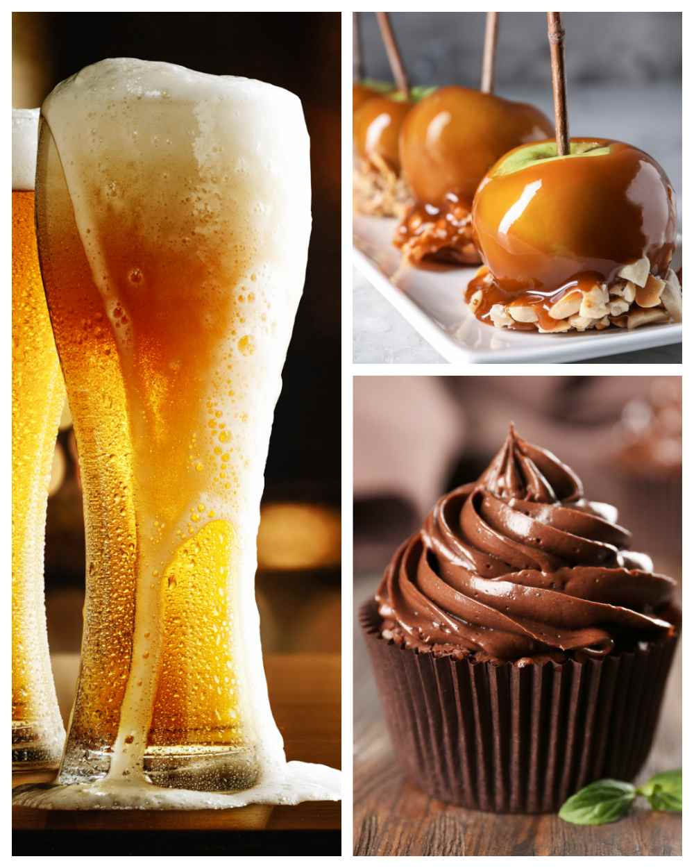 Gasses of beer. tray of caramel apples, and chocolate cupcake.