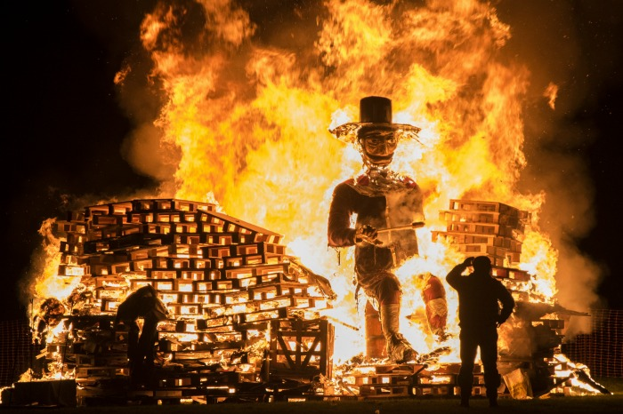 bonfire and effigy for Bonfire Night
