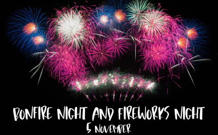 "Fireworks with words reading ""Bonfire night and fireworks night - 5 November."""
