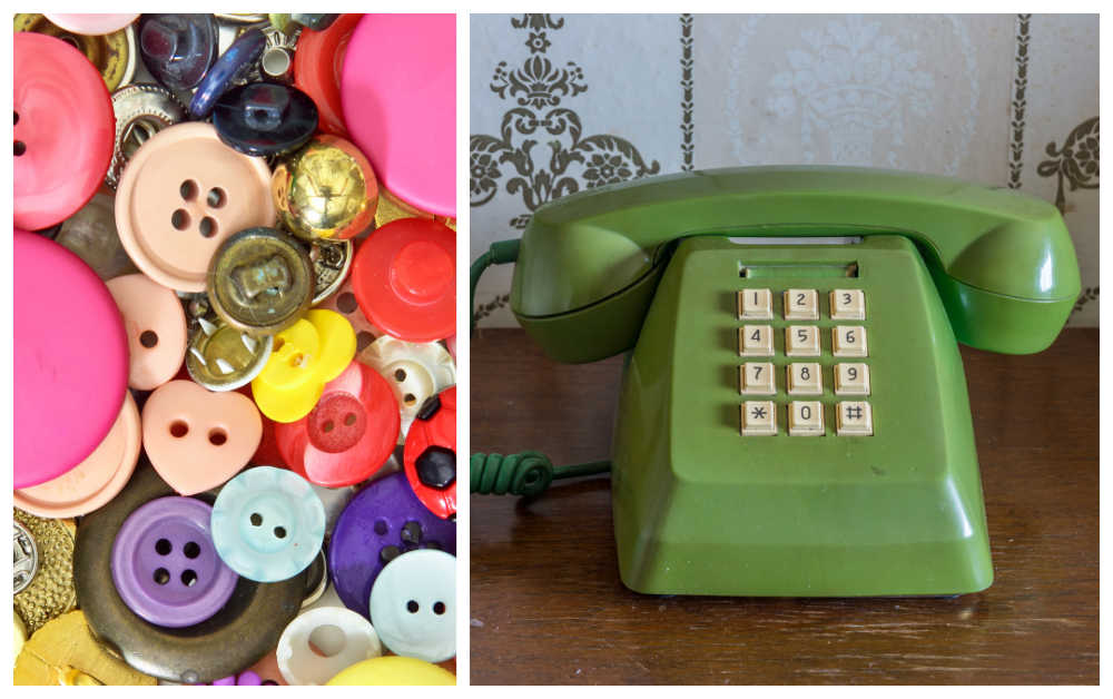Pile of buttons and green push button phone.