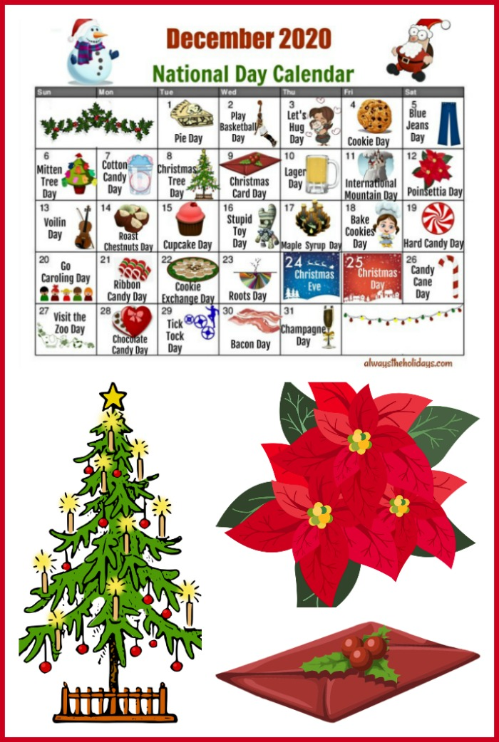 December National Day Calendar with Christmas tree, poinsettia and Christmas card.