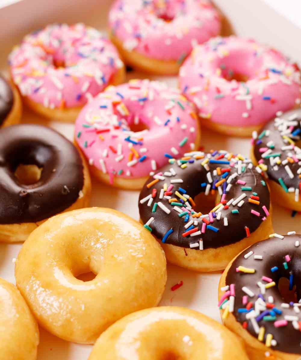 Doughnuts with decorated tops for National Doughnut day.