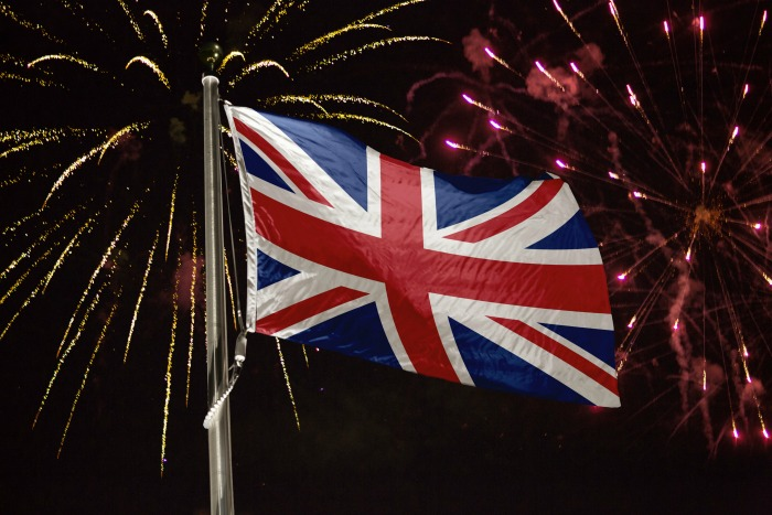 Fireworks and the UK flag.