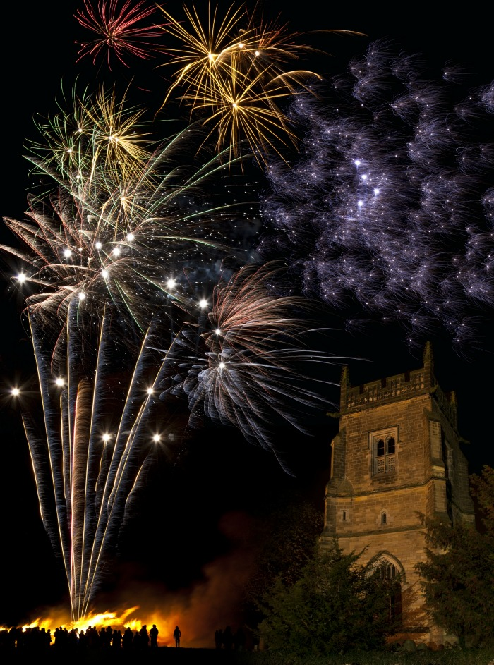 Fireworks and cathedral.