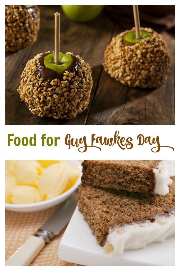"Parkin cake and Toffee Apples with words reading ""food for Guy Fawkes Day."""