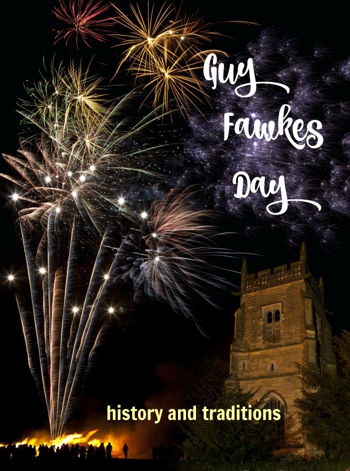 "Fireworks show over a cathedral with the words reading ""Guy Fawkes Day""."