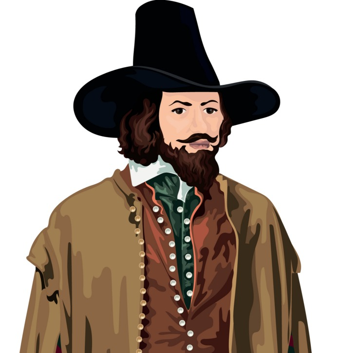 Illustration of Guy Fawkes.