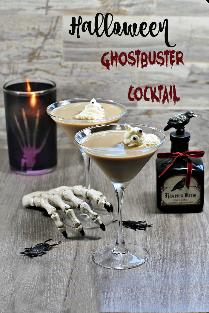 Creamy drink with ghost garnish and text reading Halloween ghostbuster cocktail