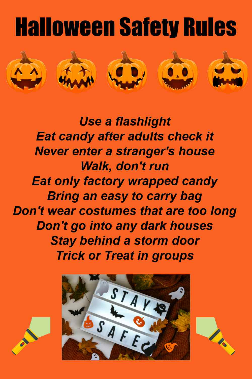 Halloween safety list of rules.