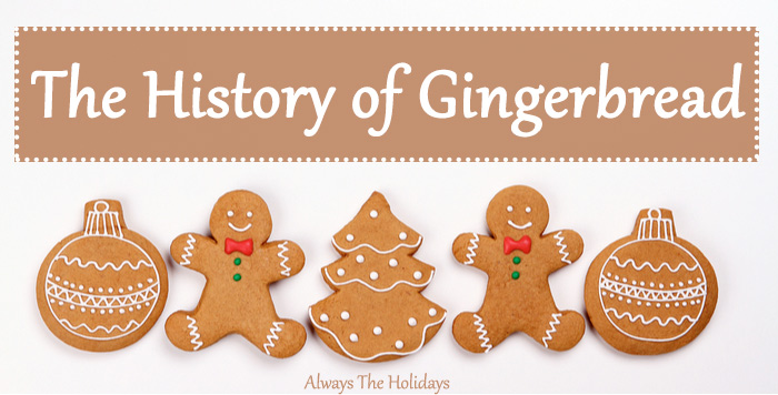 "Five Christmas themed gingerbread cookies with a text overlay reading ""The History of Gingerbread""."