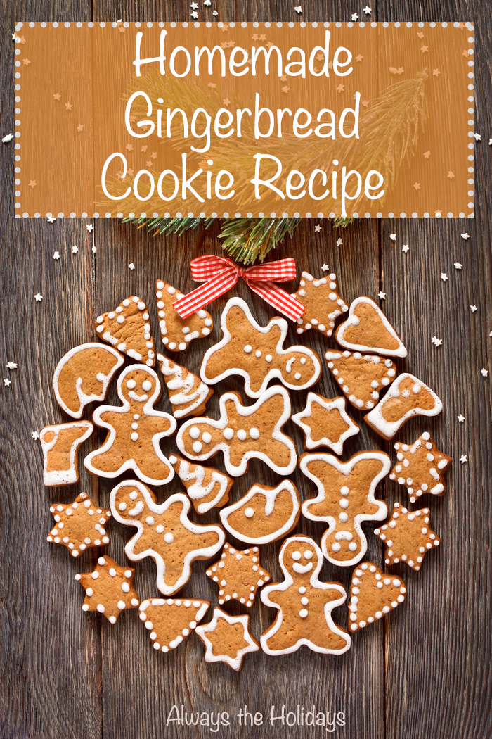 """Homemade gingerbread cookies arranged in a circle with a text overlay reading """"Homemade Gingerbread Cookie Recipe""""."""