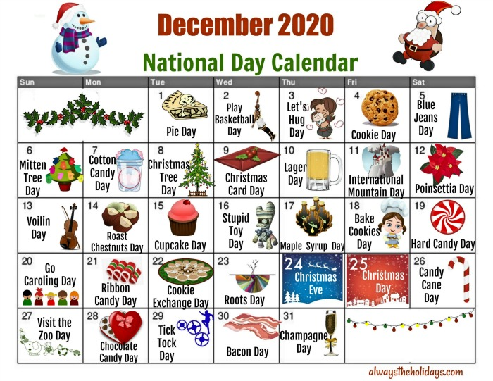 Calendar of National Days in December to print out at home.