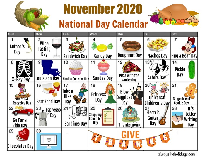 November 2020 National Day calendar.